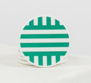green and white coasters