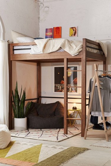 small bedroom idea with boho bunkbed and reading nook below