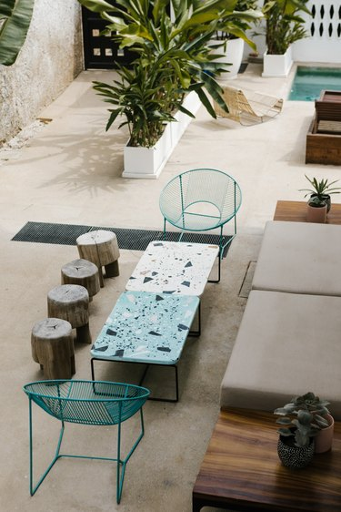 patio with terrazzo tables