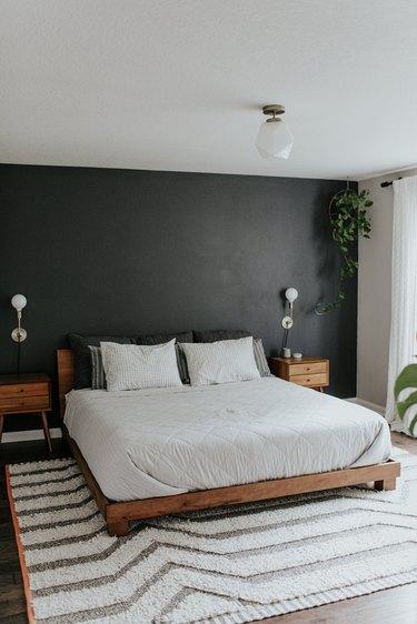 White semi-flush mount modern bedroom lighting idea