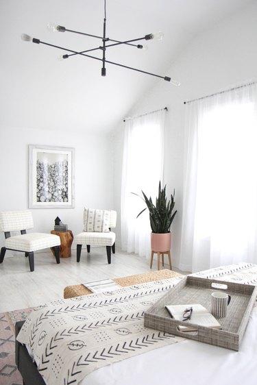 Black chandelier modern bedroom lighting idea