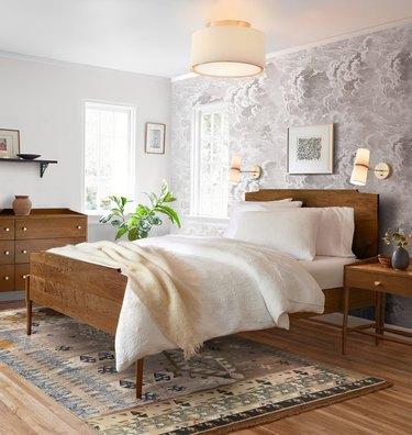 Circular flush mount modern bedroom lighting idea