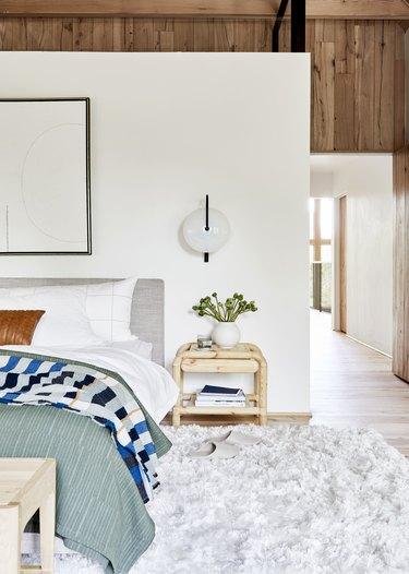 Geometric wall sconce modern bedroom lighting idea
