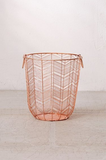 rose gold metal basket