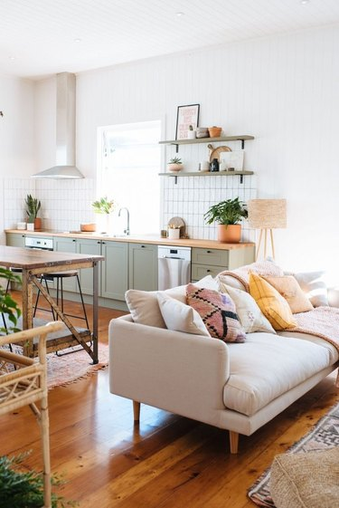 A kitchen and a living room together