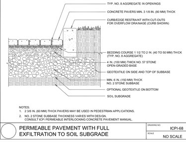 Paver installation cutaway drawing.