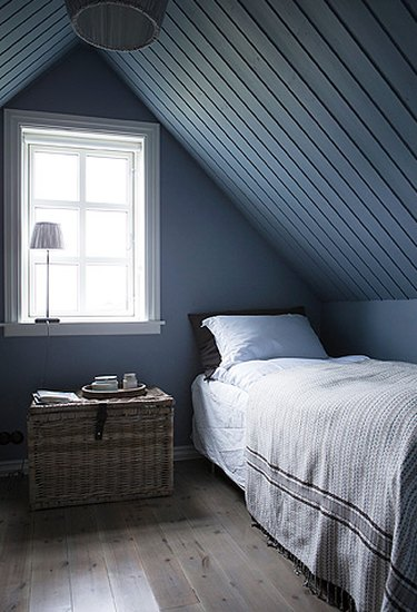 Scandinavian bedroom idea with dark bluish-gray room with A-frame tongue and groove ceiling