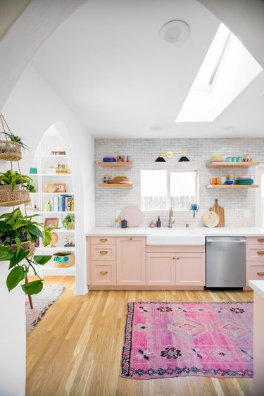 painted pink kitchen cabinets