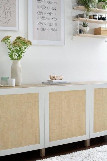 IKEA Besta storage hack using cane material