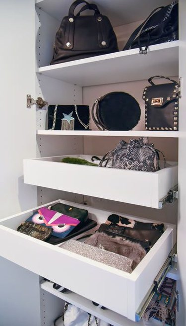 store clutches in a pull out drawer