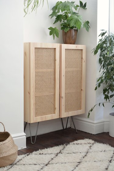 IKEA cabinet hack using cane material