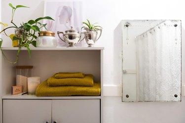 Bathroom mirror and shelves