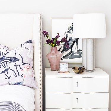 Nightstand in a clover shape in bedroom