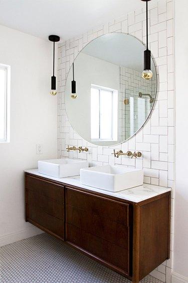 vintage vanity in marble bathroom