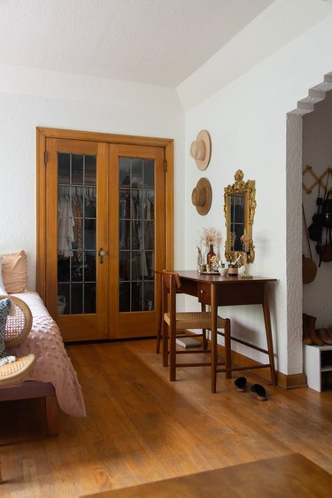 Wood and glass closet doors