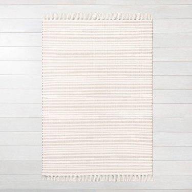 cream stripe fringe area rug