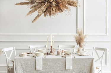 holiday white theme dinner table