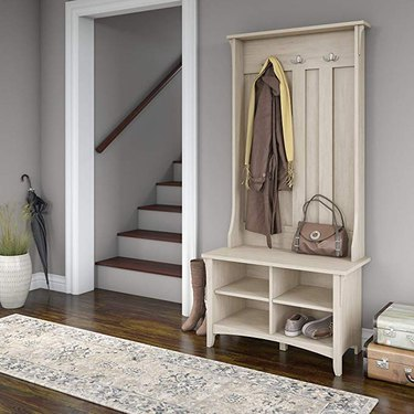 Amazon farmhouse furniture with wooden tree hall in entryway for jackets, shoes, and handbags