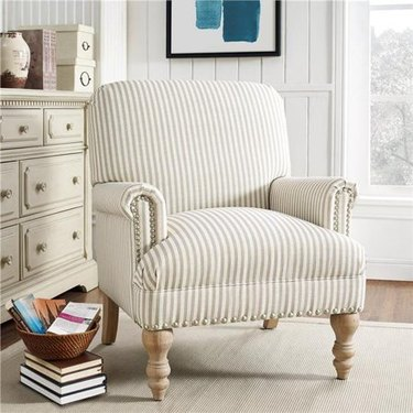 Walmart farmhouse furniture with lounge chair with stripe fabric and nailhead detail
