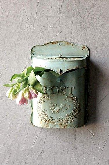 Amazon farmhouse decor with vintage embossed wall-mounted mailbox