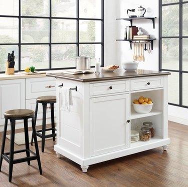 Hayneedle farmhouse furniture with freestanding kitchen island for storage