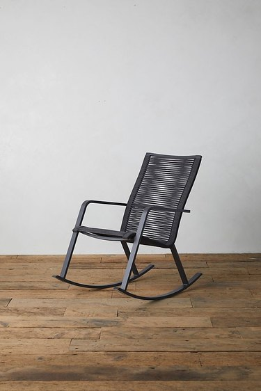 Terrain contemporary rocking chair made from black woven material
