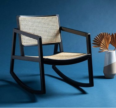 Lamps Plus contemporary rocking chair made with glossy black cane