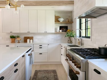 kitchen with Ikea cabinetry and Semihandmade Supermatte White doors