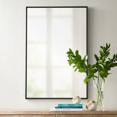 Rectangular wall mirror with thin black border