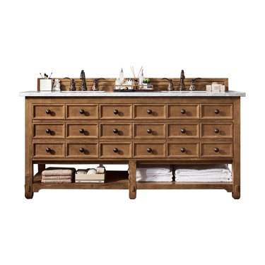 Wooden apothecary vanity with 12 equal-sized drawers, black knobs, and two sinks
