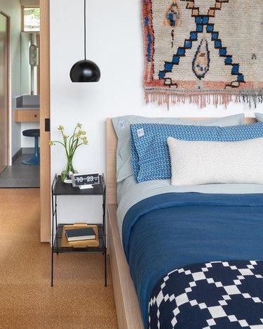 hanging bedside pendants in eclectic bedroom