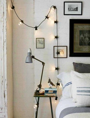 string globe lights in bedroom