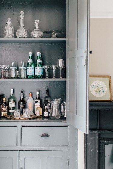 bar cabinet in dining room