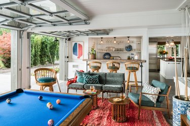 eclectic garage game room ideas with bar and pool table