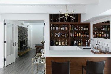 home bar with light grey floors
