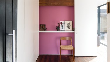 Pink wall in hallway