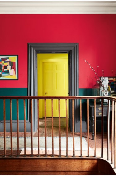 Walls painted with red, green, black, and yellow