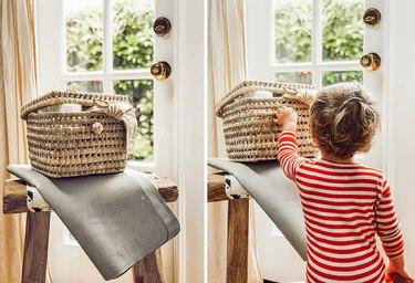 woven basket diaper storage