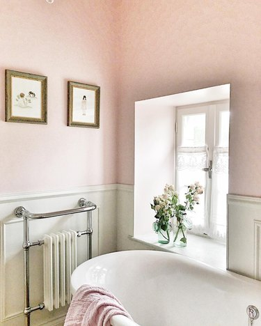 A pink bathroom in French country styling