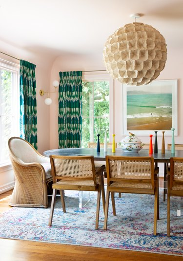 Contemporary Window Treatments Green patterned drapes in a dining room designed by Mary Patton Design