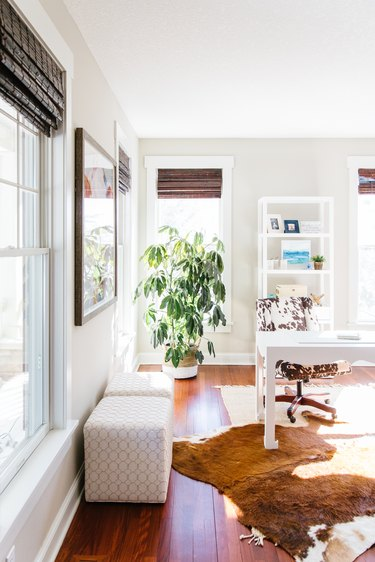 Contemporary Window Treatments Bamboo roman shades in a home office designed by Interior Impressions