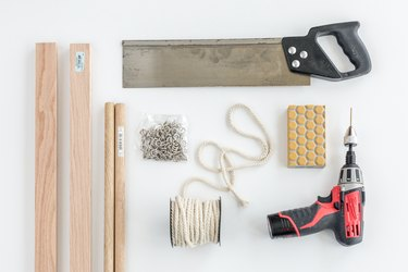Here's what you'll need to make your DIY Swing Arm Blanket Rack and Ladder.