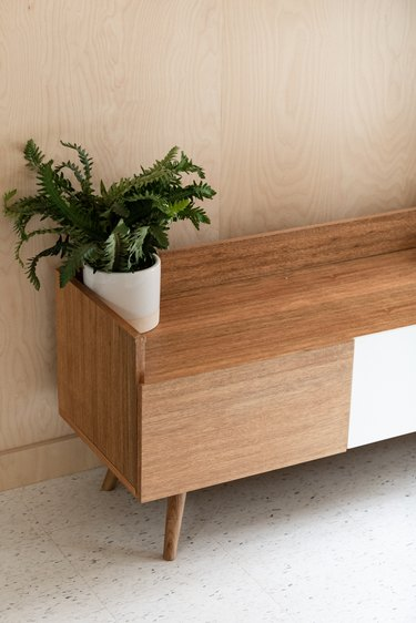 Plant on wood credenza