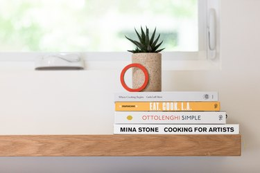 Kitchen shelf with cookbooks and plant