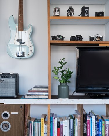 Living Room with guitar on display