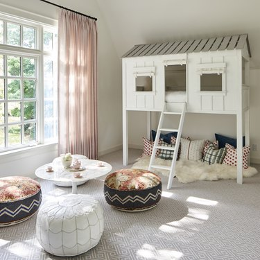 Contemporary Window Treatments Sheer pink curtains in a playroom designed by Mel Bean Interiors