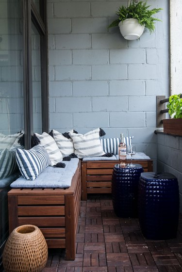 small patio with bench seating
