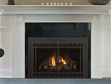 Gas fireplace.