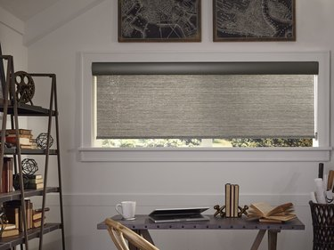 Contemporary Window Treatments gray Stoneside roller shades in a home office