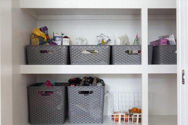 craft room organization ideas with bins in a closet